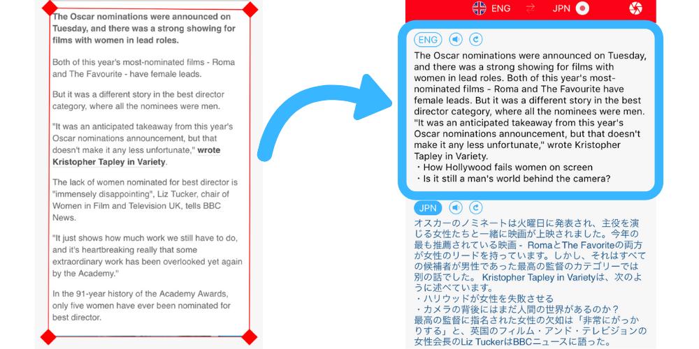 スキャンアンド翻訳プラステキストグラバーの実際の使用画面