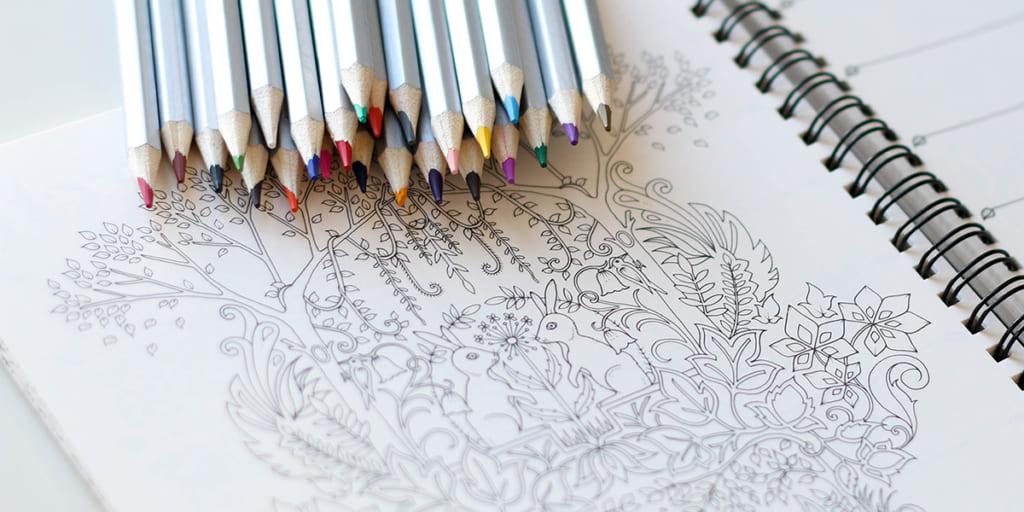 大人の塗り絵、色鉛筆
