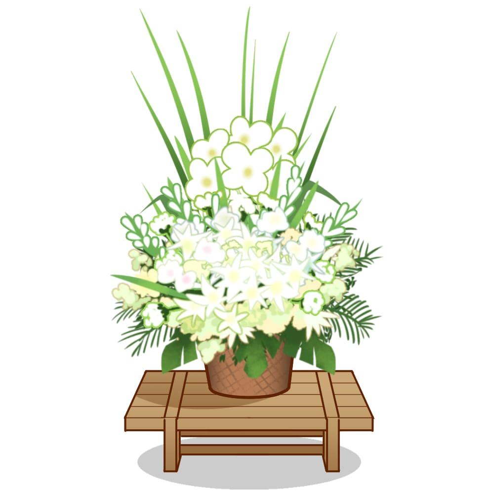 枕花とは故人の枕元に置かれる花で、白を基調に淡い色合い。花カゴと土台が付く
