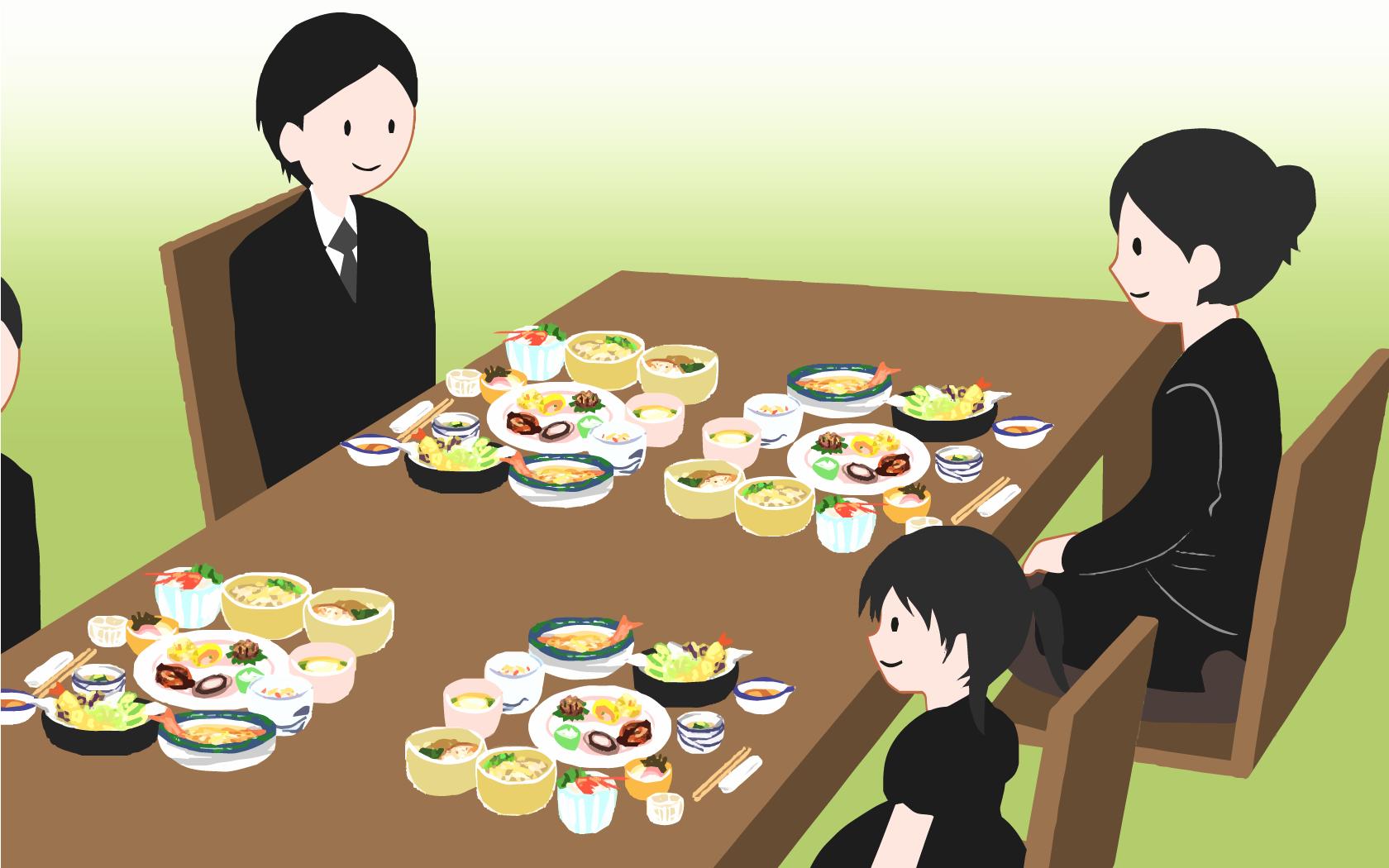 現代では本来四十九日で食べるべき精進落としの料理を、初七日でショートカットして食べている状態