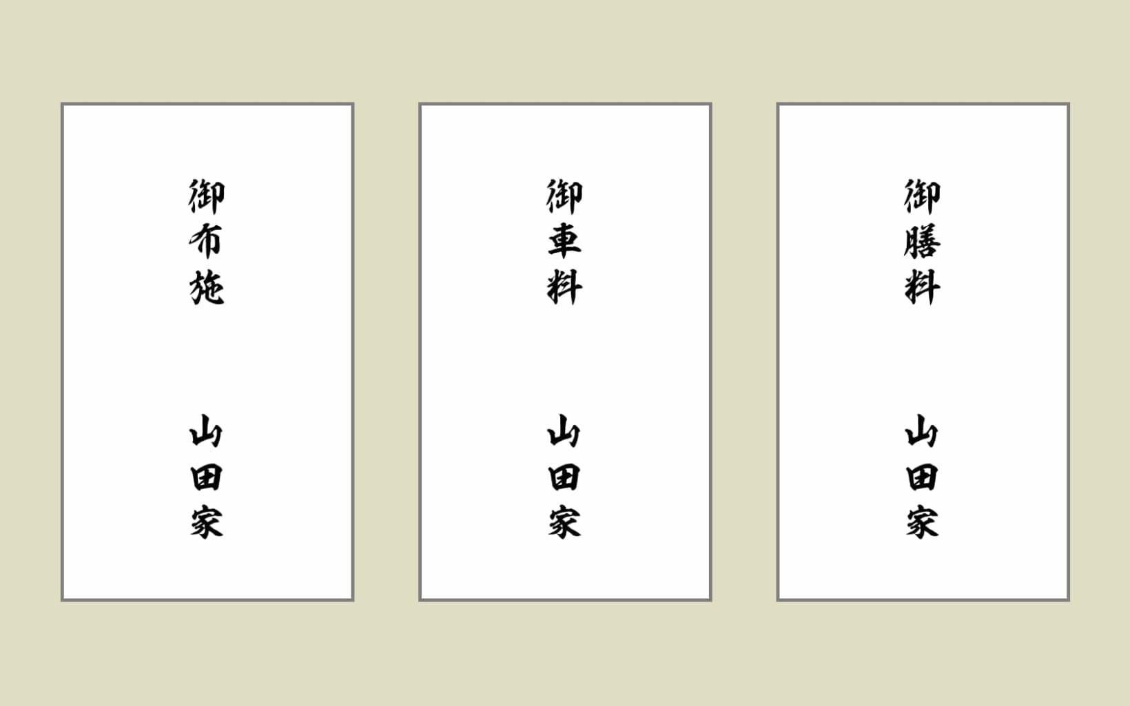 表書きは上に「御布施」「御礼」「読経料」など。 下の部分に〇〇家(苗字)、もしくはフルネームで名前を書く
