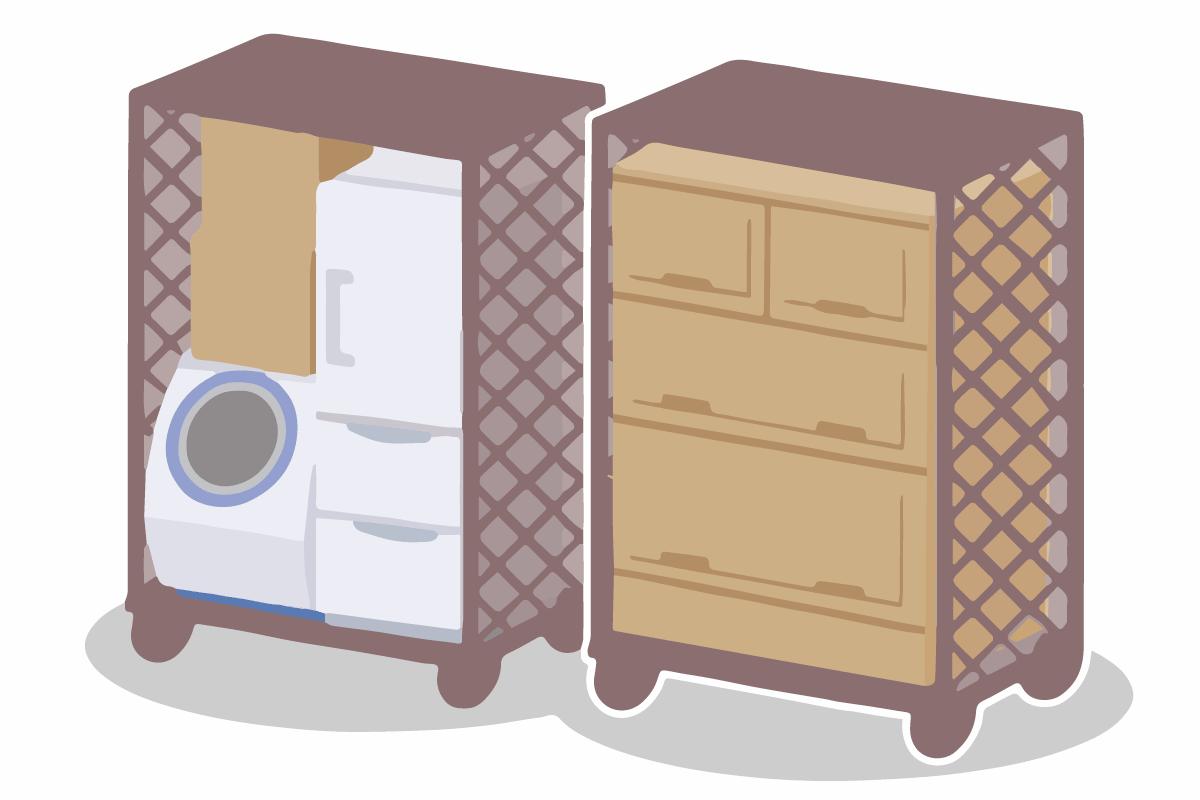 単身パックは少量をコンテナで混載