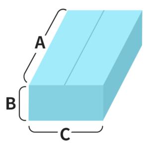 ゆうパックのサイズ区分は縦+横+高さ(A+B+C)で決められている