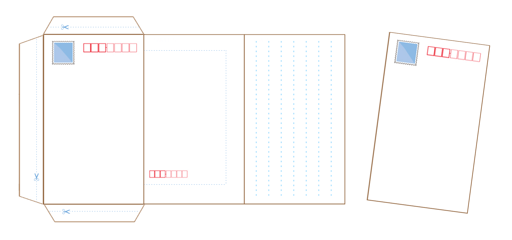 ミニレターとは、切手が印刷されている、封筒兼用の便せん