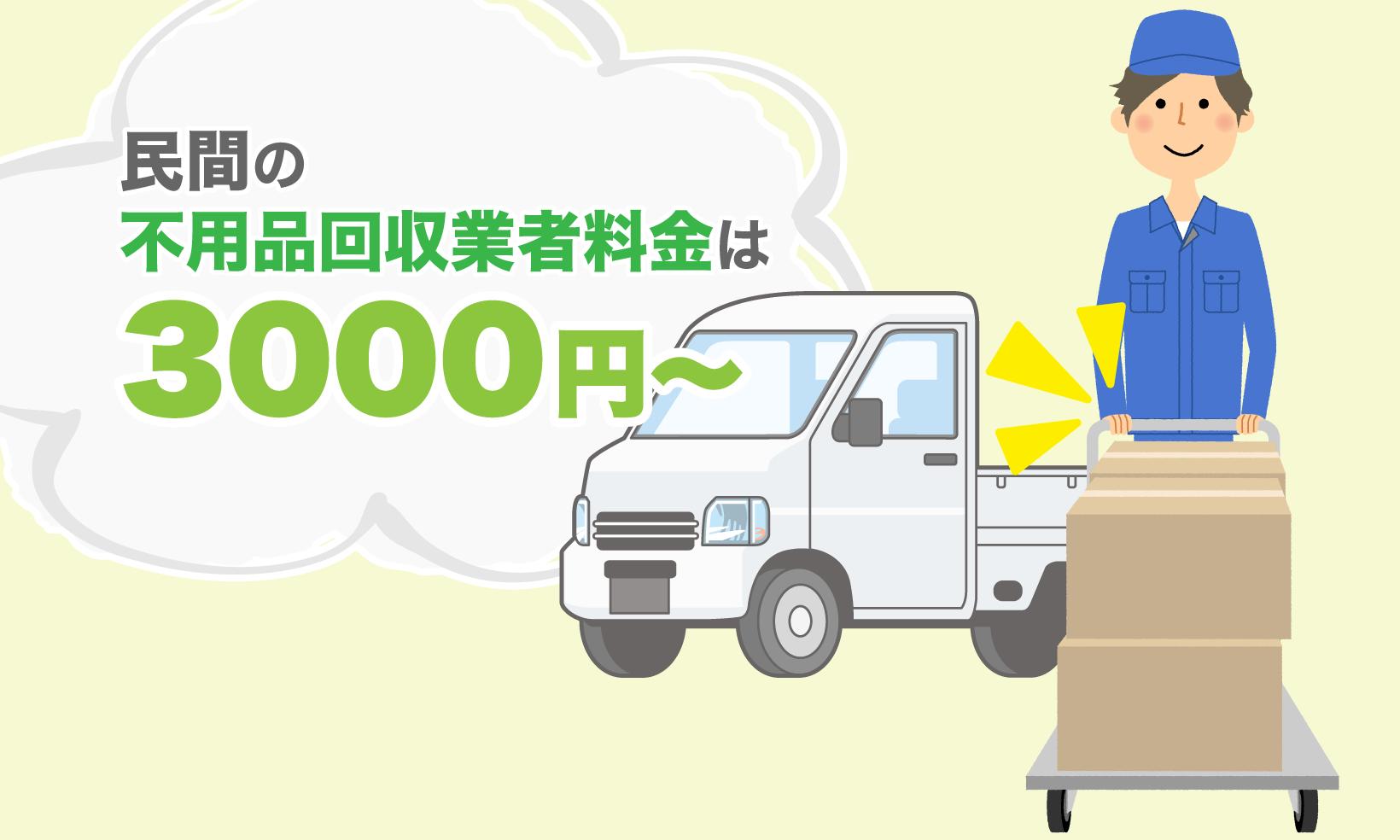 民間の不用品回収業者は高値だがほとんど物を回収してくれ、3000円からが相場になる。